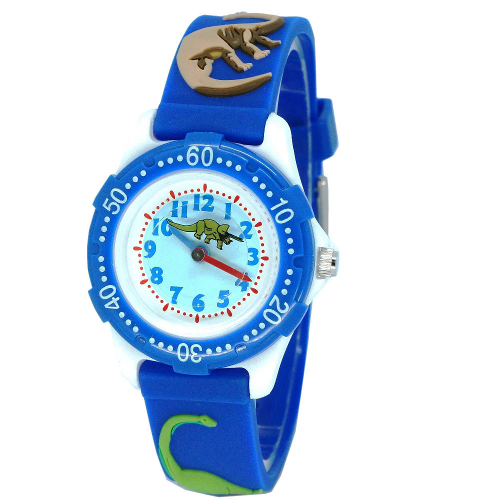 Latest Style 3D High Quality Silicone Strap Dinosaur Design Children Quartz Watch Kids Girl  Boys Students Waterproof  Watches
