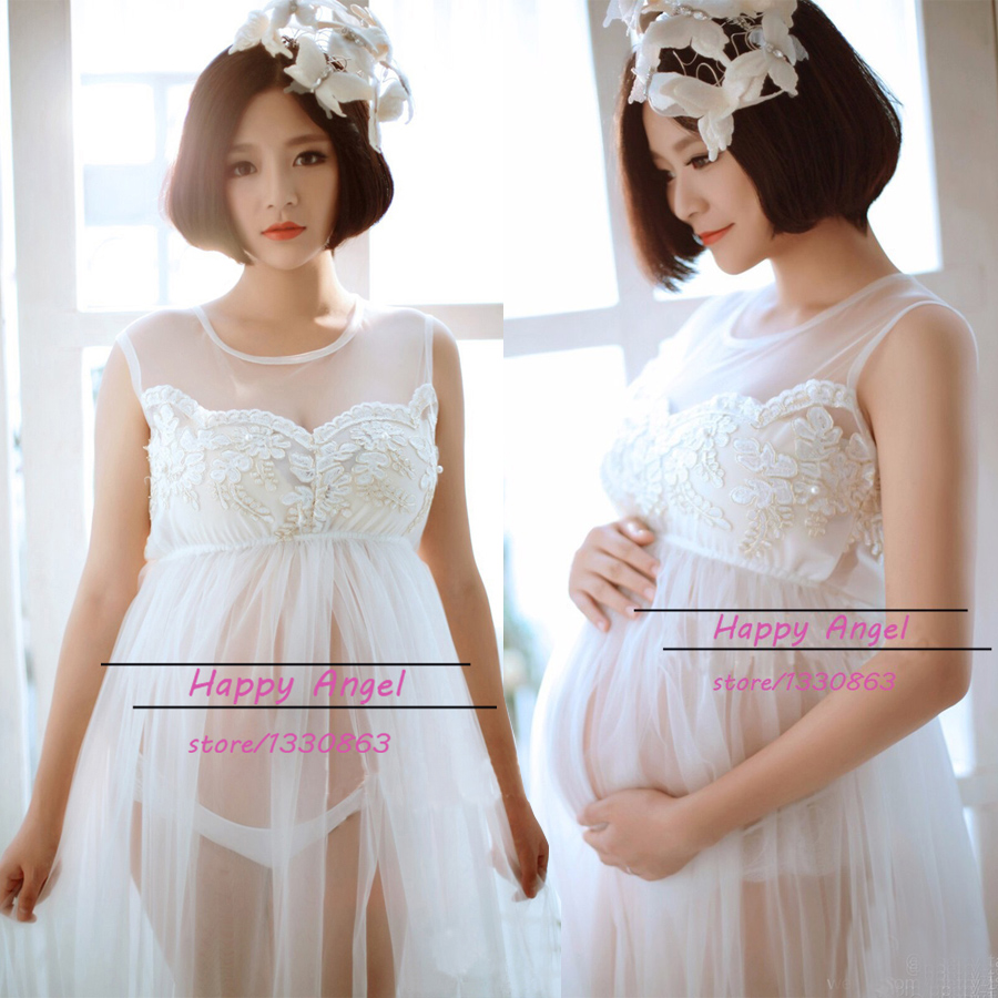 ФОТО Maternity women Photography Prop Beautiful Long Lace embroidery Cute Strapless Dress Sexy Fancy Photo Shoot See-through Romantic