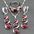 Red Garnet White Zircon Jewelry Sets 925 Silver Long Drop Earrings/Pendant/Necklace/Ring For Women Free Jewelry Box TZ84