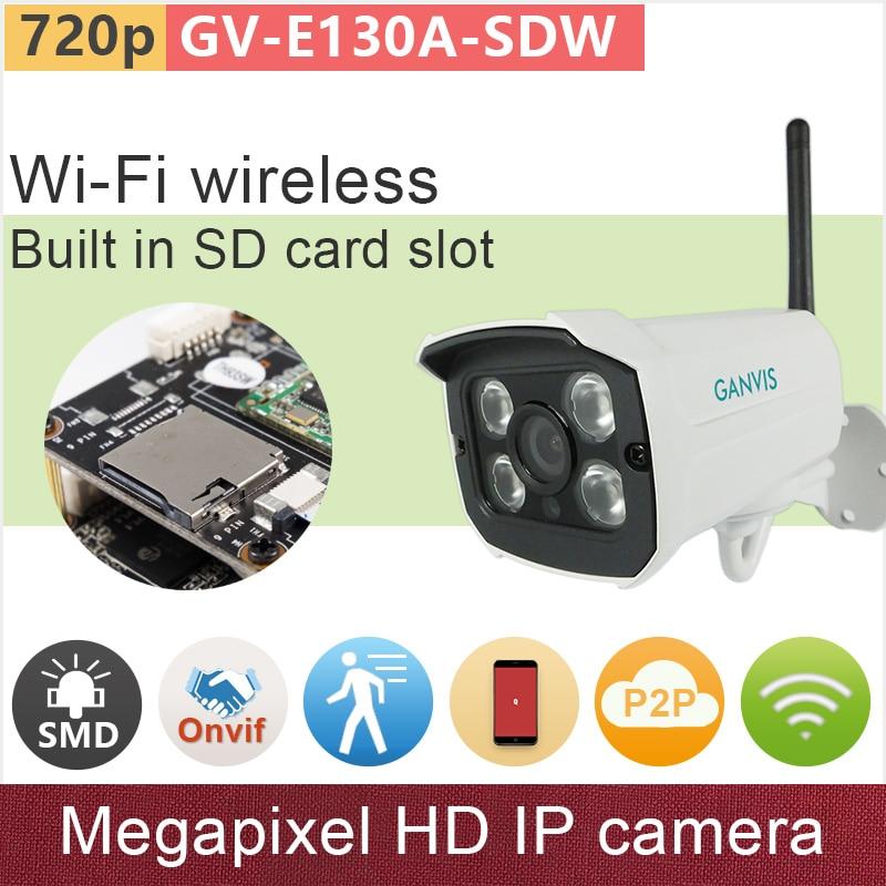 WiFi wireless SD card memory HD 1mp ip camera 720P mini bullet Network security CCTV surveillance camera onvif P2P GV-E130A-SDW original sd memory card cover for nikon d7100 d7200 camera replacement unit repair part