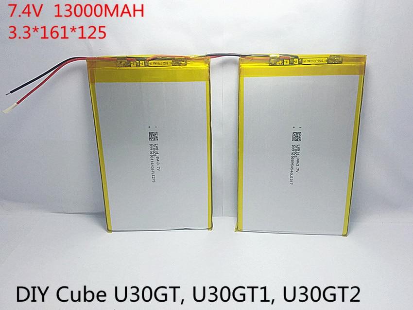 7.4V 13000mAh Tablets Batteries DIY U30GT, U30GT1, U30GT2 dual four-core tablet pc battery 33161125 Size:3.3 * 161 * 125 mm cube u30gt mini tablet battery plate 3563125 battery
