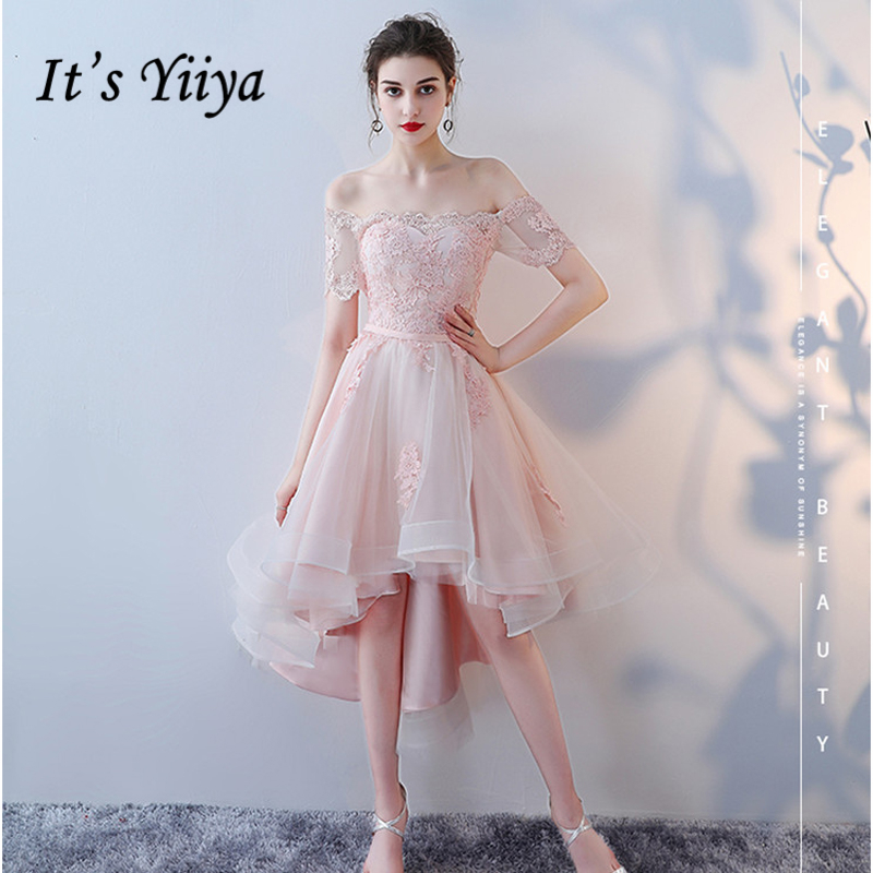 It's Yiiya   Prom     Dresses   Girls 2018 Boat Neck Short Sleeve Flower Lace   Prom   Gowns Party   Dresses   Formal   Dresses   LX992