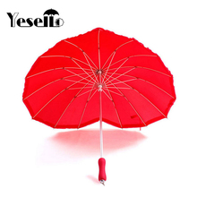 Yesello 1pcs red heart shape 16 ribs peach Folding Sunny and Rainy Umbrella for women wedding party