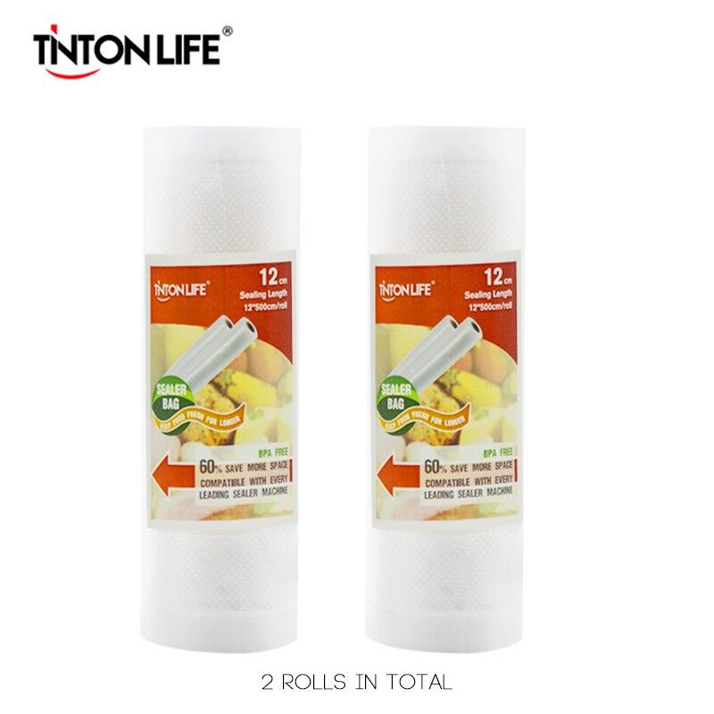 TINTON VIE 12 cm * 500 cm 2 Rouleaux/set Vide Scellant De Stockage Sacs Grade pour Sous Vide et foodsaver