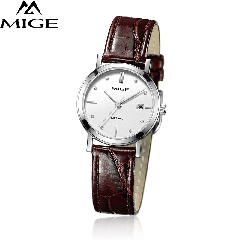 Mige 2017 Hot Sale Top Brand Lover Watch Ladies Casual White Brown Black Leather Waterproof Female Clock Quartz Women Watches mige 2017 new hot sale lover man watch rose gold case white casual ultrathin waterproof relogio masculino quartz mans watches