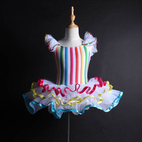 Support Dance New Arrival Girls Colorful Striped Professional Ballet Tutu Dress Kids Shiny Dance Costume DB126