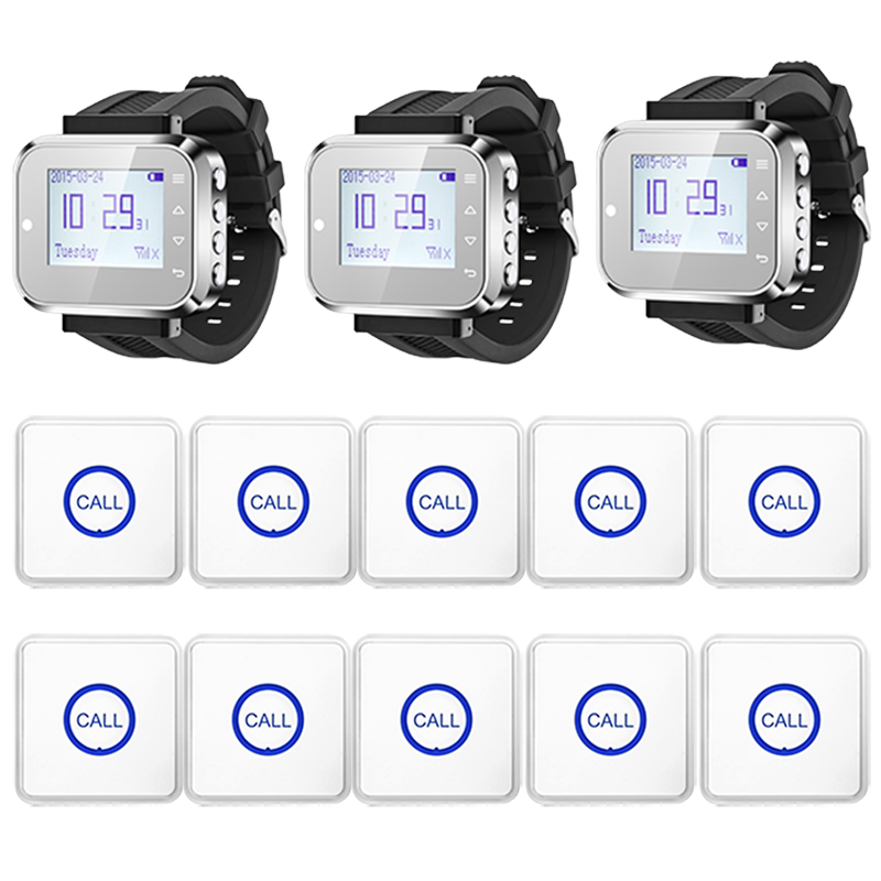 3pcs Hot Sale Black Waiter Service Calling System Watch Pager Service System (KR-C166) + 10pcs F86 Wireless Transmitter one set wireless system waiter caller bell service 1 watch wrist pager with 5pcs table customer button ce passed