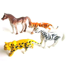 4 Pcs/Set Plastic Zoo Animal Figure Tiger Lion Zebra Lovely Animal Models Action Toys Gift For Kids(China)