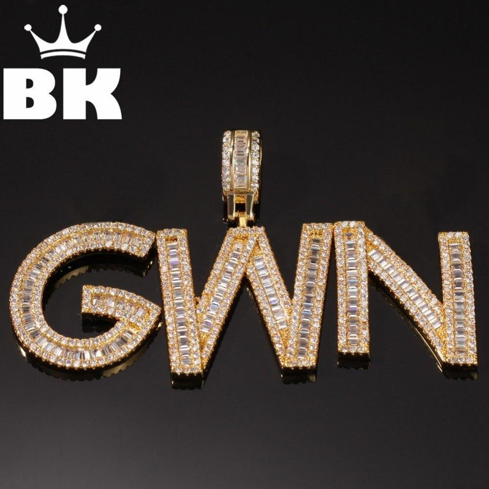 HIP HOP Custom Baguettecz Letter Pendant Necklace Combination Words Name Necklaces Zirconia Jewelry