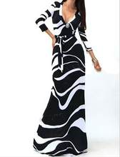 Dress Women Deep V Neck Print Party Dress Lace-Up Sexy Ladies Dresses Elegant Long Dress(China)