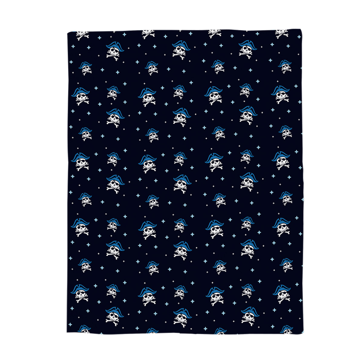 Printed Blanket The Skeleton of A Deep Blue Sea Squid. A Big Axe and A Big Knife. Japanese Cartoon Blanket Black and Blue