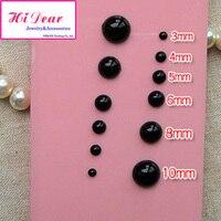 Noir 2 / 4 / 6 / 8 / 10 / 12 / 14 / 16 mm ABS résine Flat Back Half Round Imitation perles bricolage bijoux / Mobile cas résultats / BM1