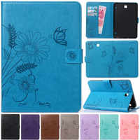 Cute Cartoon Flower Butterfly Leather Flip Fundas Case For Coque Samsung Galaxy Tab S2 8.0 T710 SM-T715 T715 Tablet Cover Case
