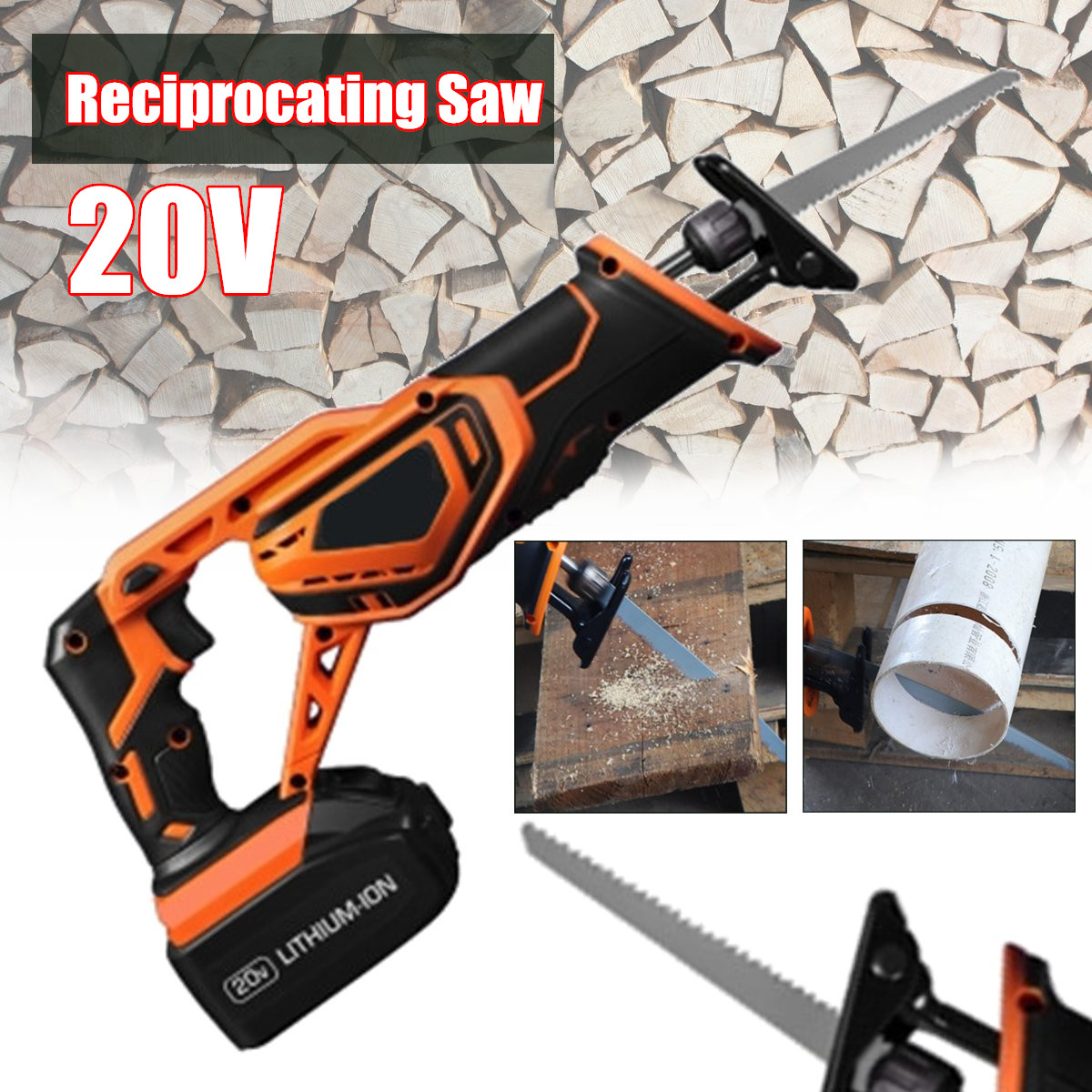 20V 3000mAh Portable Rechargeable Reciprocating Saw Wood Cutting Saw Electric Wood Metal Plastic Saw 1pc 5804 li 12 mini electric curve sawing wood working reciprocating saw with led