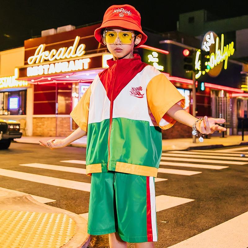New 2019 Children'S Street Dance Set Boys Summer Short Sleeve Tops Shorts Outfits Hip Hop Dance Dress Jazz Dance CostumesDQS2136