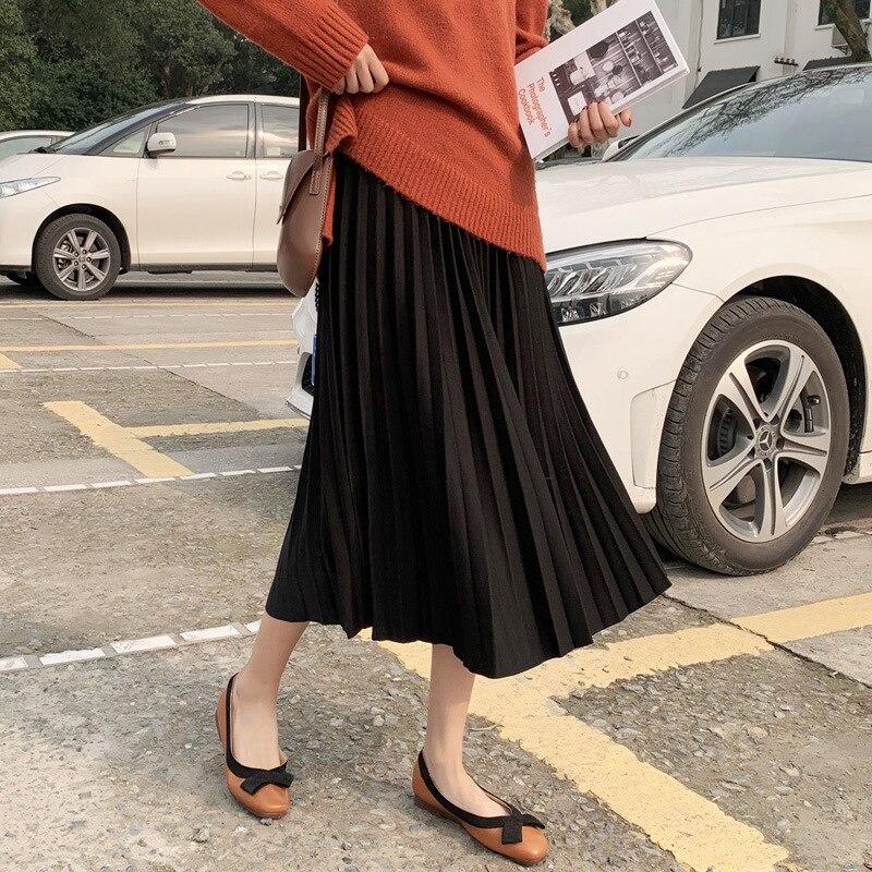 Surmiitro Elegant Solid Midi Pleated Skirt Women 2020 Spring Ladies Korean Red Black High Waist A