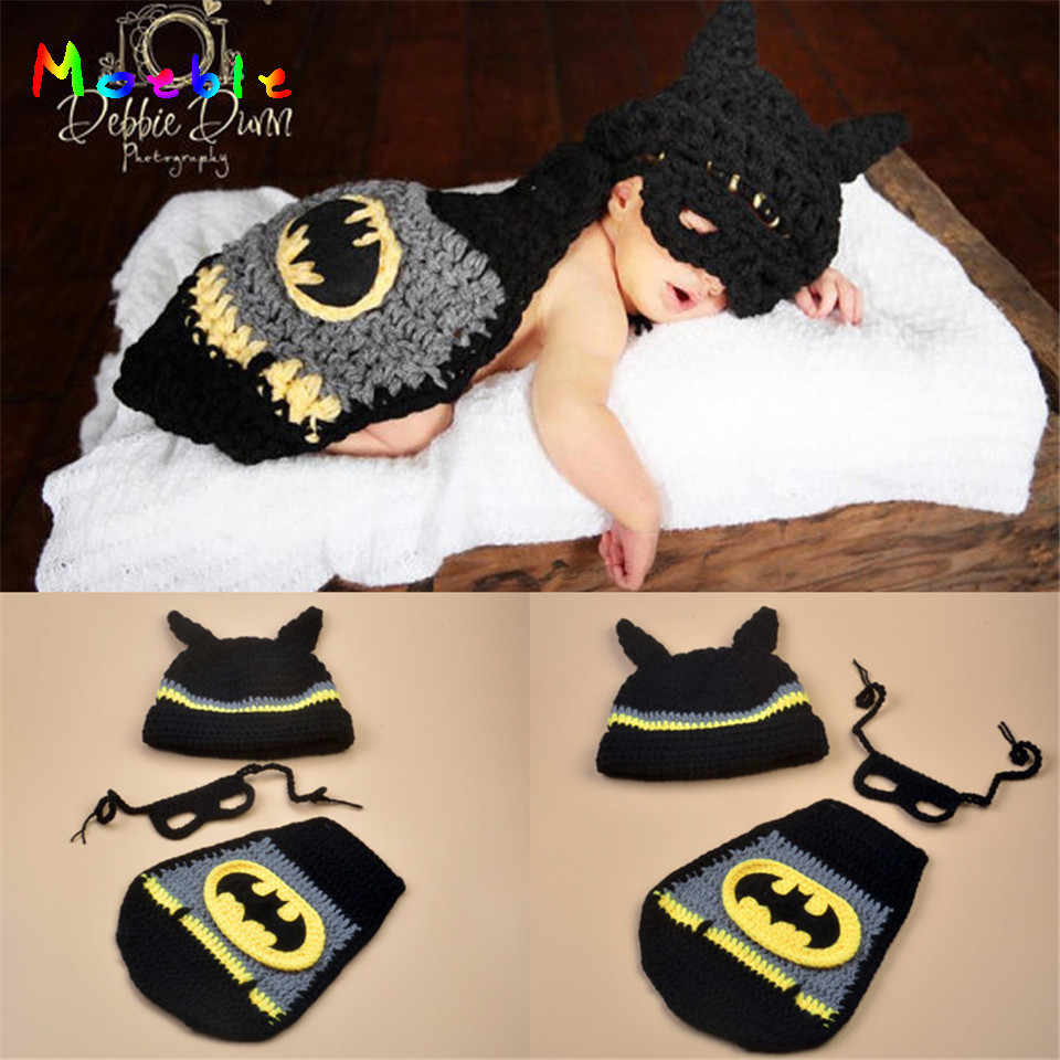 70c796241 Hot Sale Crochet Baby Photography Props Knitted Baby Batman Costume For  Photo Shoot Infant Crochet Baby Hat Photo Props