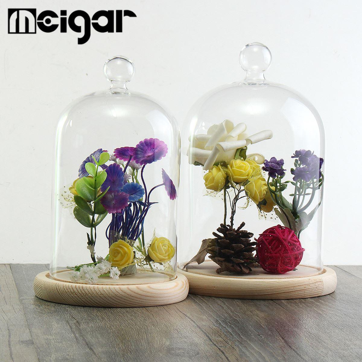campana florero terrario de vidrio con base de madera plantas hidropnicas macetas home garden room