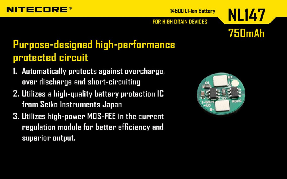 NL1485 1 PC Nitecore 14500 850 mAh