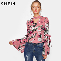 SHEIN Bow Tie Exaggerated Trumpet Sleeve Choker Neck Top Pink V Neck Long Sleeve Floral Autumn