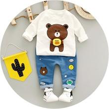 Baby Boy Clothing Sets Baby Set Autumn Fashion Cute Bear Print Shirt Denim Pants 2Pcs Kids Clothes For Children Infant Boys Set
