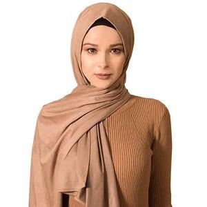 Image 3 - 28 COLOR New Women Muslim Scarf Elastic Hijabs Islamic Shawls Soild PLAIN Modal Headscarf For Women Jersey Scarf