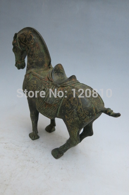 Rare Old Qing Dynasty Gilt bronze horse statue, Don horse,best collection image