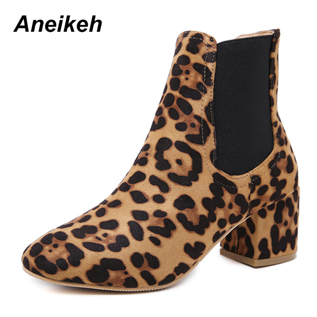 1b78d8b700df Aneikeh Women's Ankle Boots New Spring Autumn Leopard Print High Heel Boots  Ladies Casual Slip-on Short Boots Size 35-40 Shoes