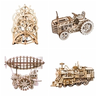 Robotime 4 Kinds DIY Wood Sculptures Industrial Decoration Statues Table Room Accessories Office Ornament Gift for Kids Boy LK