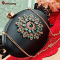 New Women's Silk Clutch Fashion Diamond Flower Oval Type Evening Bag Exquisite Crystal Wedding Party Handbag Purse Shoulder Bag