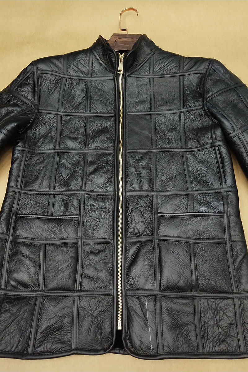 HTB1eysdX8Cw3KVjSZFuq6AAOpXaa Winter warm men's fur one sheep shearing leather plaid outdoor cotton coat leather jacket thick warm skin