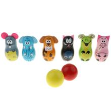Mini Wooden Animal Bowling Balls Skittle Sports Fun Game Early Learning Educational Toys Gift for Baby Children Kids Toddler