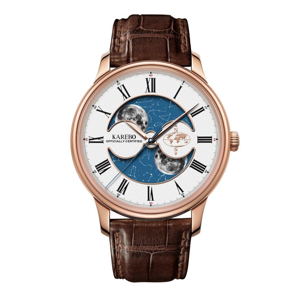 KAREBO Men Business Fluorescence Luminous Business Moon Star Dial Automtatic Self Wind Mechanical Wristwatch Watch