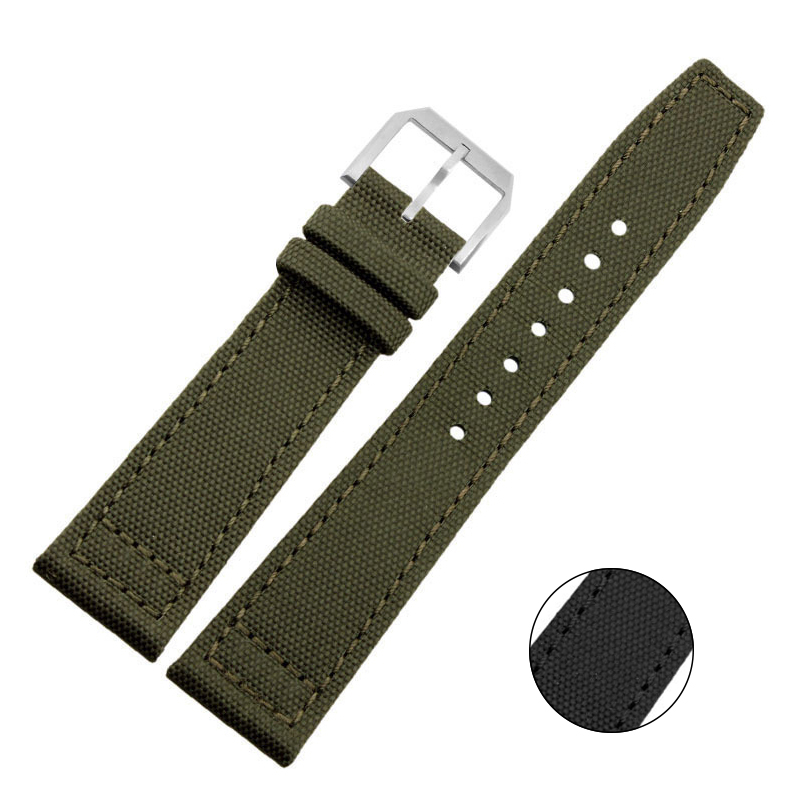 Special Design Canvas Genuine Leather Watchband Black Army Green Watch Band Strap 20mm 21mm 22mm Watchbands цена и фото