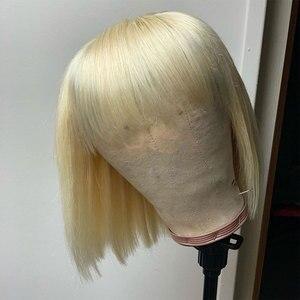 Image 2 - 613 Rechte Blonde Bob Lace Front Pruiken Braziliaanse Korte Pixie Cut Lace Front Menselijk Haar Pruiken Met Pony Voor Zwarte vrouwen Remy