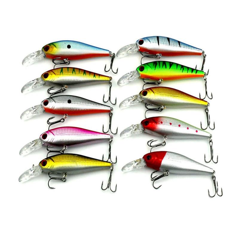 Lot 10pcs Kinds of Fishing Lures Crank baits Hooks Minnow Baits Tackle Metal