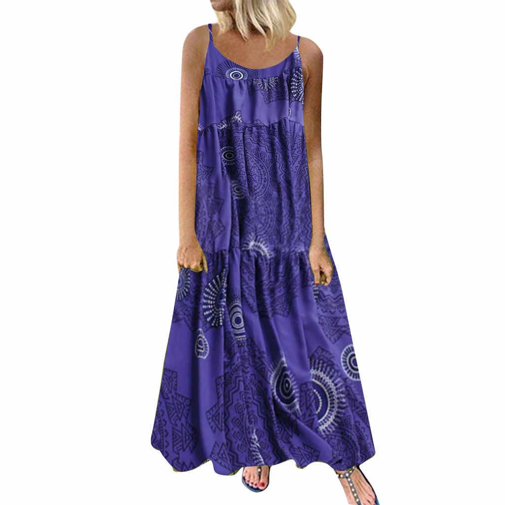 Mulheres Plus Size Maxi Vestido Bohemian Floral Imprimir Longo Vestidos Sem Mangas Casual Cotton Linen Étnico Solto Vestido Mujer Vestido de Verão