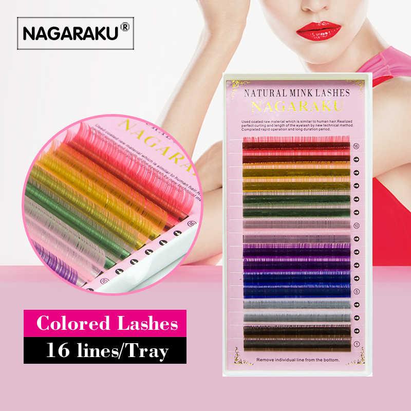 NAGARAKU цветные ресницы для наращивания ресниц макияж 2 лотка Лот 16 рядов Макарон 8 цветов Радужный цвет высокое качество искусственный Cils