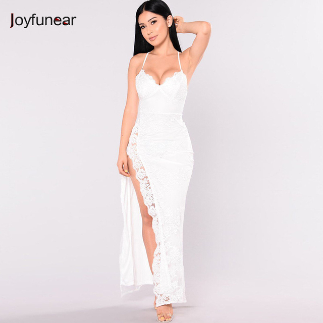 a307d280bc747 US $34.27 |Joyfunear Fancy And Expensive Floral Embroidery Formal Dress  Sexy Spaghetti Strap Side Split Maxi Dress Women Summer Club Wear-in  Dresses ...