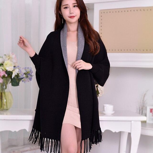 겨울 뒤집을 수있는 검은 색 슬리브 판초 여성용 따뜻한 스카프 스톨 Thicken Pashmina Shawls 및 랩 Tassel Wearable Poncho Capes