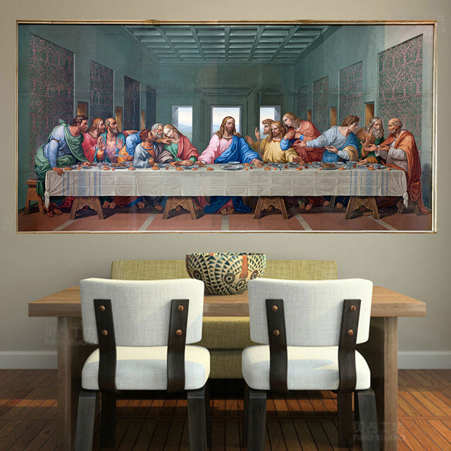 Single Large Famous Print Canvas Painting The Last Supper Leonardo
