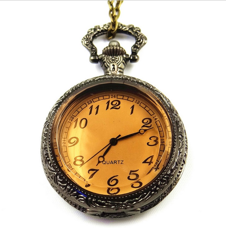 New Bronze Amber SMALL POCKET WATCH Women  Vintage STYLE Dress Watch Fashion Jewelry