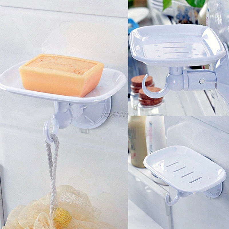 Durable Suction Cup Plastic Wall Soap Dish Basket Holder Tray Bathroom Shower 14 X 9cm Mar Whosale&DropShip