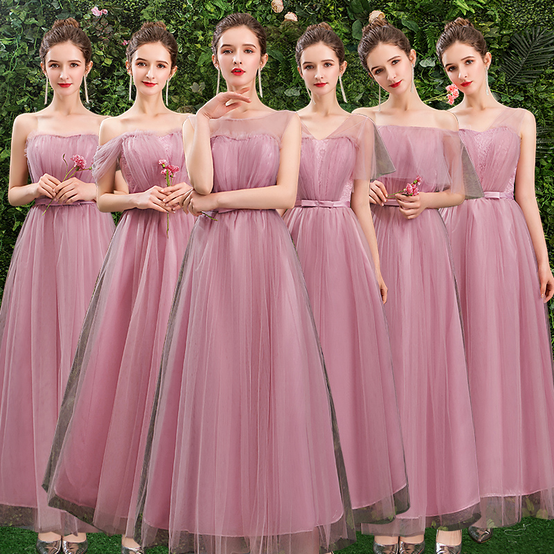 Pink Bridesmaid Dresses Mermaid Wedding Guest Party Elegant Women Plus Size Tulle A-Line Sexy Sister Formal Simple Long Prom