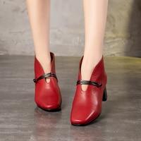 VALLU Vintage Women Shoes High Heels Square Toes Cowhide Leather Block Heels Ladies Pumps 2018 Autumn New Arrival