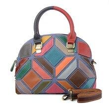 Genuína mulheres De Couro Sacos de Bolsas de costura Saco Do Mensageiro Saco de Ombro das Mulheres Geometria colorido bolsa Bolsa sac femme
