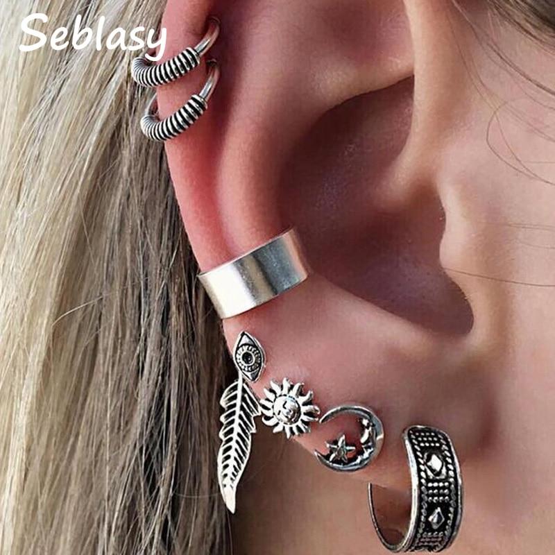 Clip Earrings Jewelry & Accessories Generous Seblasy New Punk Silver Color Big Sun Flowers Moon Star Evil Eye Clip Earrings For Women Night Club Earrings Set 8 Pcs/set