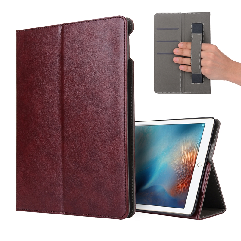 DOLMOBILE Luxury PU Leather Case Cover with Stand for New iPad 9.7 inch 2017 Hand Holder Grip Shell with Card Slots