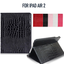 Tablet Case for iPad Air 2 Crocodile Texture PU Leather 2 Folio with Built-in Magnet Features Auto Wakeup/Sleep Function All-New
