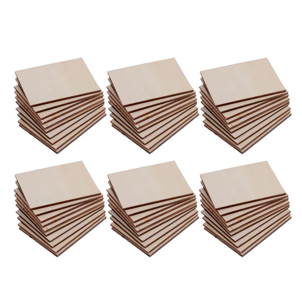 60 Pieces Blank Boards Plywood Sheets For Crafts, Models & Pyrography Wood Plaque Sign DIY Woodburning Materials 70x49mm